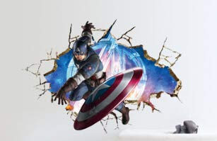 chenpaif 3D Super Hero Marvel Home Decoration The Avengers American Captain Wall Sticker Color