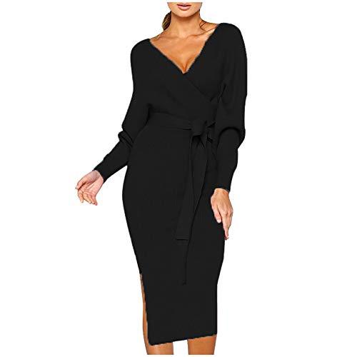 Vectry Damen Stickad klänning vanlig midi-klänning plusstorlek långärmad v-ringad sexig sjal klänning sidoslitsad lång klänning avslappnad klänning aftonklänning festklänning smal passform blyertsklänning S-5XL
