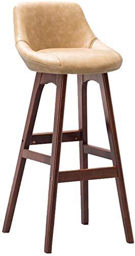 Zfggd Home Bar Muebles de Madera de Brown Taburete Taburete Alto for desayunos Comedor de heces for la Cocina Inicio Barra Silla for Uso Profesional con Respaldo y Beige PU Cojín Concise Style