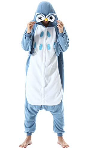 Jumpsuit Onesie Tier Karton Kigurumi Fasching Halloween Kostüm Lounge Sleepsuit Cosplay Overall Pyjama Schlafanzug Erwachsene Unisex Eule for Höhe 140-187CM Damen Herren
