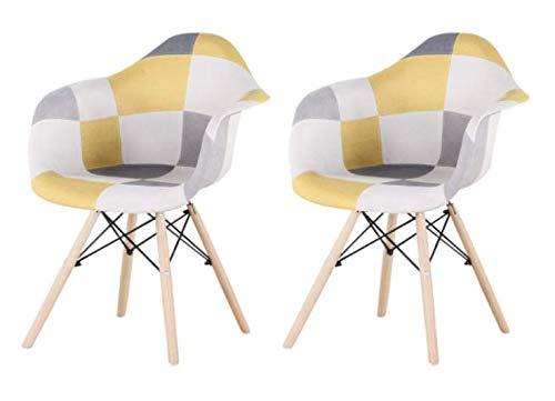 1234 2er Set Mehrfarbige Patchwork-Sessel mit Rückenlehne Weiche Kissen Retro Bar Chair Holz Leinensitz für Wohnzimmer Küche Esszimmer (Gelb)