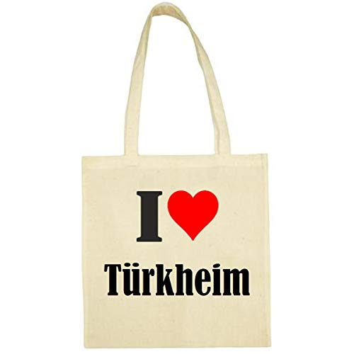 Tasche I Love Türkheim Größe 38x42 Farbe Natur Druck Schwarz