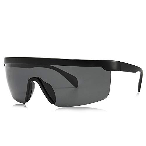 DLSM Mode Winddichte Sport Polarisierte Sonnenbrille Herren Spiegel Übergroße Flat Top Brille Sonnenbrille Für Männer Strand Sonnenbrille Fahrbrille-Schwarz
