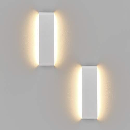 Klighten 2 Stücke Wandleuchten LED Innen,10W,30CM LED Wandlampen,IP44 Badleuchte,Weiß,Moderne Wandbeleuchtung Perfekt für Schlafzimmer, Wohnzimmer, Treppen und Badezimmer Licht,3000K Warmweiß