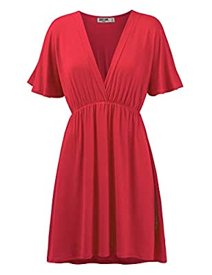 Womens Short Sleeve Kimono Style Dress Top XL RED