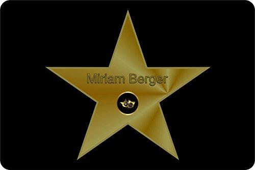 Verlag HE Fußmatte Walk of Fame Goldfarbener-Stern | mit Namen personalisiert | Flur | Geschenk | Eingang | Treppenhaus | Umzug |