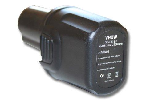 vhbw batería 2100mAh (3.6V) para herramientas Dewalt DC600 Screwdriver por Dewalt DE9054, DE9054-XJ.