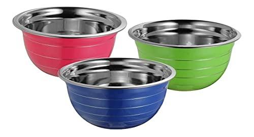 Cuenco   Tazón para mezclar de acero inoxidable 30 cm Varios colores (Verde, Rosa o Azul) ensaladeras, mixing bowl, ideal para cocinar y servir.