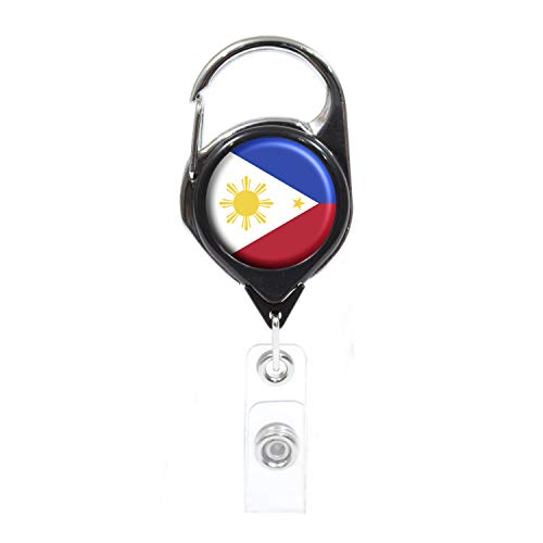 Officially Needed-Philippines Country ID Badge Holder, Black Retractable Carabiner Clip   Great Office Supplies or Holding Keys   Gifts for Women, Teachers, Nurses, Professionals, Government