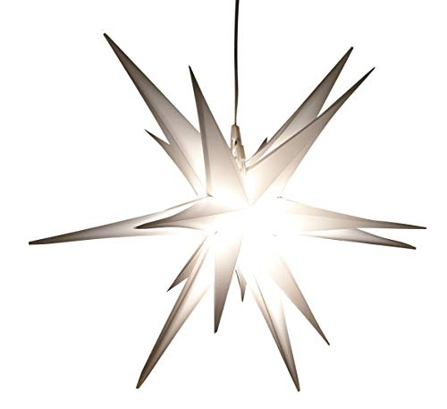 Led Weihnachtsstern Weiß, Adventsstern, für Außen, Kunststoff Ø 55 cm Mit LED Lampe 3.6W Stern 3D Außenstern Fensterstern Deko