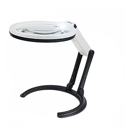 YNLRY Lupa de escritorio con 10 luces LED y soporte 2X 5X vidrio plegable lámpara de mesa portátil