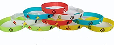 MA Creations Angry Birds Bracelets Kids Birthday Party Favors - Glow in The Dark (10 Pack)