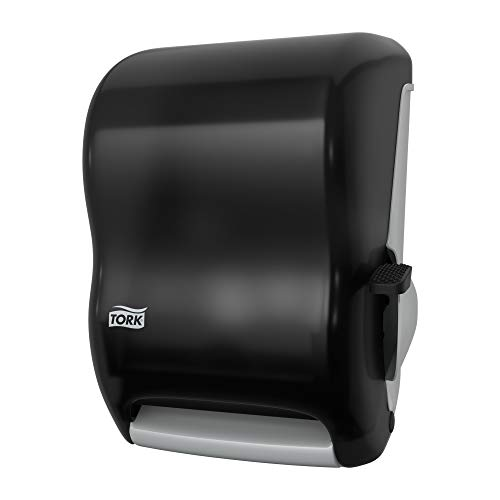 "Tork 84TR Hand Towel Roll Dispenser, Lever Auto Transfer, Plastic, 15.5"" Height x 12.94"" Width x 9.25"" Depth, Smoke (Case of 1 Dispenser) For use with Tork RB351 & RK350A,Black"