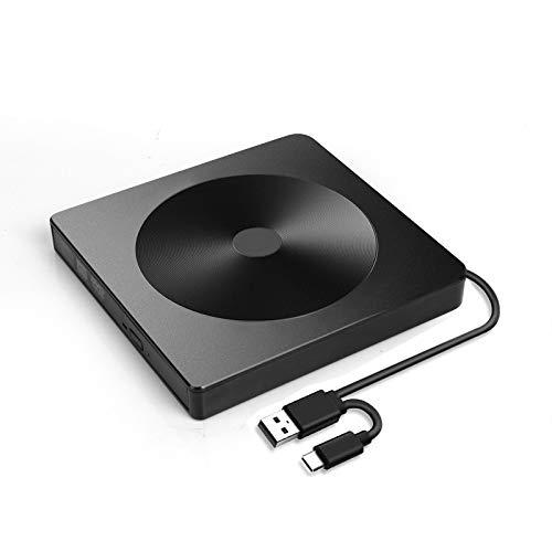 Masterizzatore Dvd CD Esterno, Portatile Unità e Masterizzatore CD/DVD, con USB 3.0 e Type-C per laptop, desktop, Mac, MacBook, compatibile con Windows XP / 7/8 / 10 / Vista/Linux/Mac 10 OS