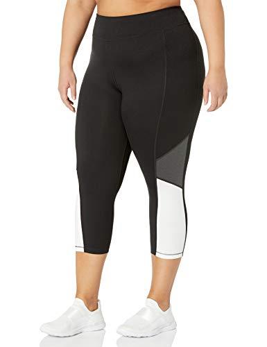 Just My Size Women's Plus Size Active Pieced Stretch Capri, Black/Granite Heather/White, 2X