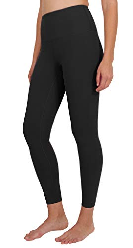 90 Degree By Reflex Ankle Length High Waist Power Flex Leggings - 7/8 Tummy Control Yoga Pants - Black - Medium