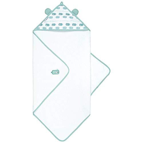 emma & noah | Asciugamano per Neonato con Cappuccio | 100% cotone | 80x80 cm | Modello Balene | Accappatoio Morbido e Assorbente | Design con Orecchie Divertente