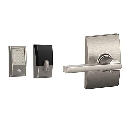 Schlage Lock Company BE489WB CEN 619 Schlage Encode Smart WiFi Deadbolt with Century Trim in Satin Nickel, Lock & F10 LAT 619 CEN F10VLAT619CEN Passage Lever, Satin Nickel