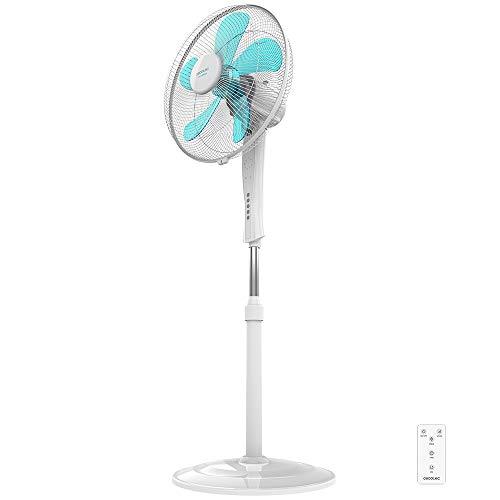 """Cecotec Ventilador de Suelo EnergySilence 530 Power Connected White. 5 Aspas de 12"""" (30cm) de Di‡metro, 3 Velocidades, Motor de Cobre, Rejilla Rotatoria, Mando a Distancia, Temporizador de 2h, 50W"""