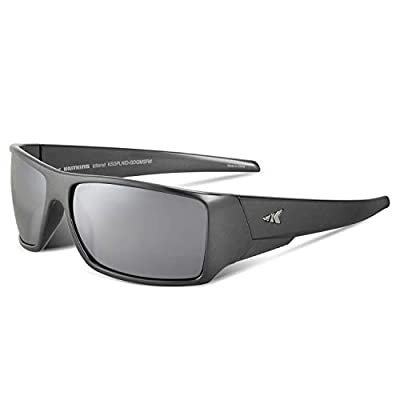 KastKing Iditarod Polarized Sport Sunglasses for Men and Women, Gloss Dark Gray Metalic Frame, Smoke Base Flash Mirror