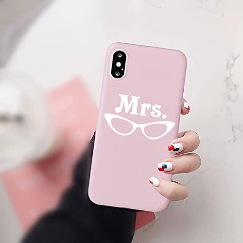 AAA&LIU Custodia per Telefono Best Friend Best Friend Funny Good Bad Girl per iPhone 7 XR 11 PRO XS Max X 8 6s Plus Borsa con Cover Posteriore in Silicone Morbido Mr Mrs, C, per iPhone 6 6s