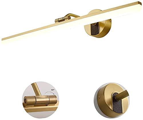 10W LED espejo de vanidad luz para baño, latón IP44 marco de espejo, luces de pared de baño, iluminación de gabinete ajustable de 90°, blanco neutro 4000K, 58cm