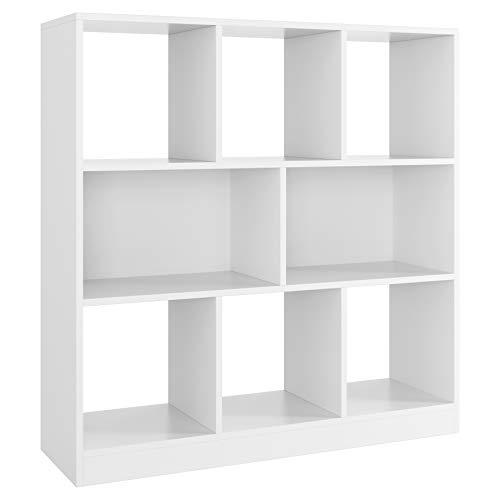 Bibliothèque Étagère à 8 Cubes Salon Rangement Meuble Compartiments Ouverts en Bois pour Bureau 100x97,5x30cm