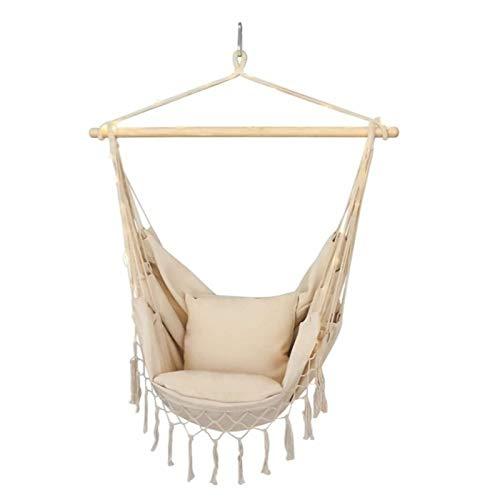 JILEI Silla colgante de estilo nórdico para exteriores, para dormitorio, mecedora al aire libre, con barra de madera, 130 x 100 x 100 cm