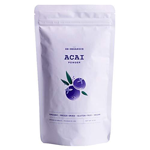 SB Organics Premium Acai Powder - USDA Organic, Non-GMO, Freeze-Dried Berries - Antioxidants, Fiber, Vitamins, and Minerals - 8 oz.