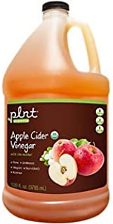 plnt Organic Apple Cider Vinegar with Mother Supports Digestion, Raw Unfiltered, NonGMO, Vegan USDA Certified Organic (1 G...