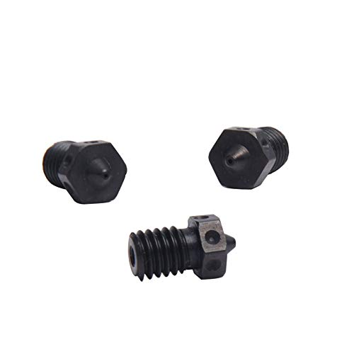 4pcs Hardened Steel Nozzles M6 Nozzle 0.25/0.4/0.5/0.6mm For 1.75mm V5 V6 Hotend Titan Aero Extruder Prusa i3 MK3 3D Printer Printing PEI PEEK or Carbon Fiber Filament Use