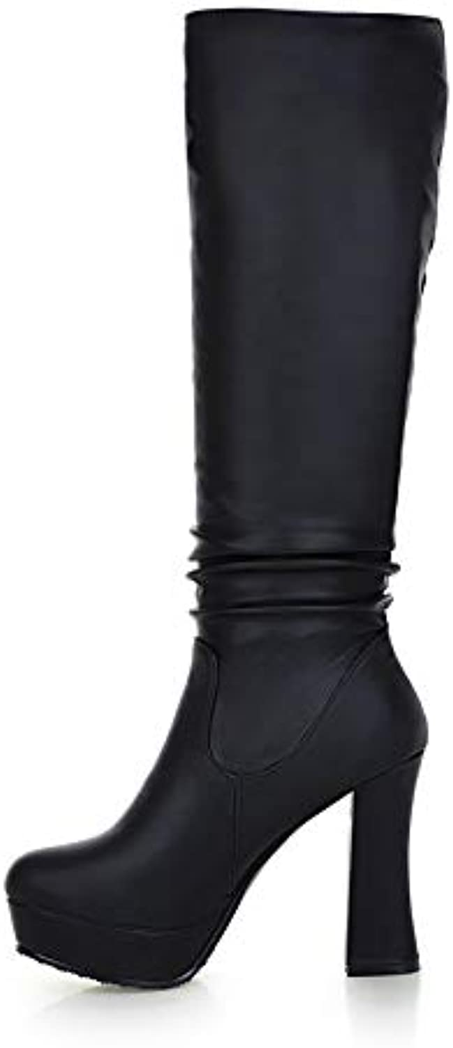 T-JULY Women's shoes Knee-high Boots Ladies Fashion Platform High Heels Party Warm Plush Winter Woman Boots