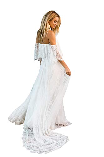 Nanger Damen Zweiteilig Hochzeitskleider Spitze Lange Boho Standesamt Brautkleider Weiß 52
