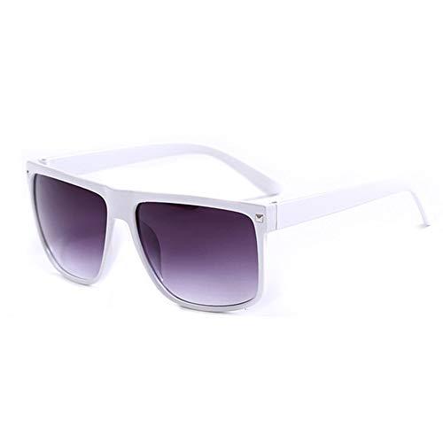 WPHH Clásico Marrón Y Negro Gafas De Sol Rectángulo Unisex Lentes De Sol para Dama De Moda De Hombres,Blanco