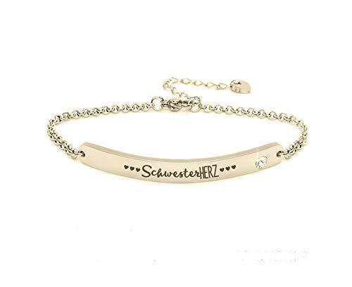 Silvity Damen Gravur-Armband Edenlstahl veredelt mit einem Swarovski¨ Kristall 16,5 cm bis 20,5 cm Farbe: Gold (Motiv