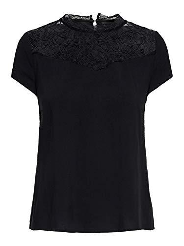 ONLY Damen Onlfirst Ss Lace Top Noos WVN Bluse, Schwarz (Black Black), Medium (Herstellergröße: 38)