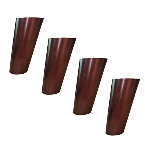 Azyq Piedini per mobili, cono inclinato, cono dritto, piedi in legno massello, tavolino da caffè, comodino, piedi alti, colore noce,Cono obliquo,12 centimetri