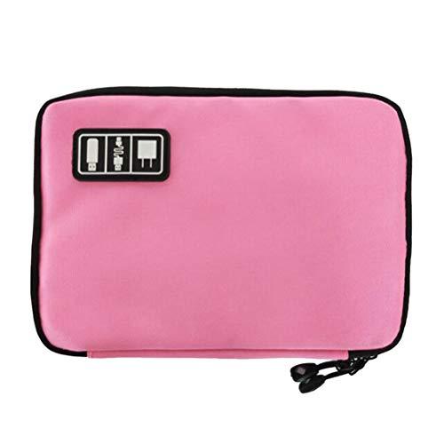 TOPBATHY Earbud Oortelefoon Headset Hoofdtelefoon Case Waterdichte 2 Laag Mini Opslag Draagtas USB Kabel Memory Card Draad Organizer Box (roze)
