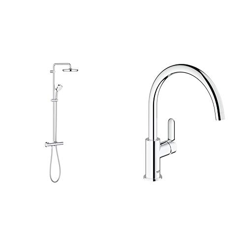 Grohe Tempesta Cosmopolitan 210Sistema de ducha con termostato + BauEdgeGrifo de cocina monomando para instalación en un solo agujero