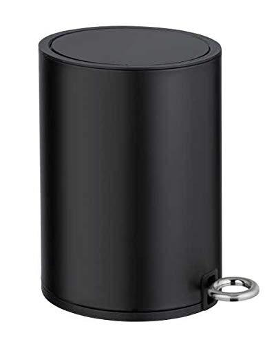 WENKO Kosmetik Treteimer Monza 3 Liter, Badezimmer-Mülleimer mit Absenkautomatik, kleiner Abfalleimer, integrierter Beutelhalter, 18,5 x 25,5 x 24,5 cm, Schwarz matt