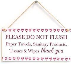Queen54ferna Por favor no rasgar toallas de papel, Etc Thank You Cute Love Hearts Septic Tank Thank You Sign para inodoro séptico