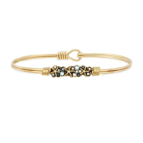 Luca + Danni Starfish Medley Bangle Bracelet For Women - Brass Tone Petite Size Made in USA
