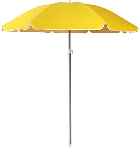 Arcoiris Sombrilla Plegable 220 CM, Parasol de Aluminio Protección Solar UPF+50, Sombrilla Jardín, Protección Solar (220cm Amarillo)