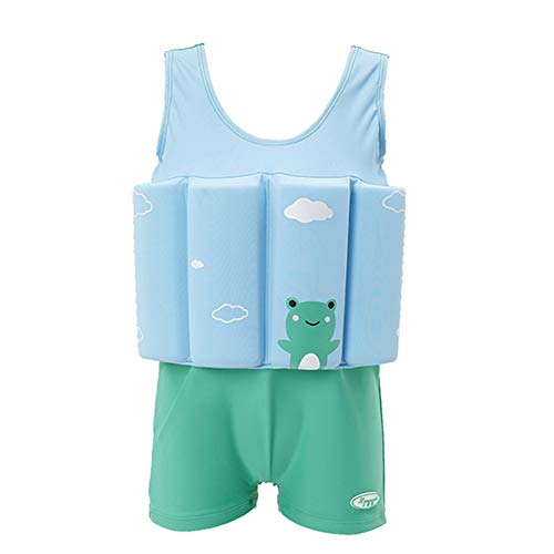 Kids Baby Boys Girls Float Suit Frog Floatation Swimsuit with Adjustable Buoyancy Swimwear Beach Wear Bathing Suit Toddler Swim Sleeveless Vest Jacket Ruffle Sunsuit Boxer Shorty Suit Green Frog 2-3T