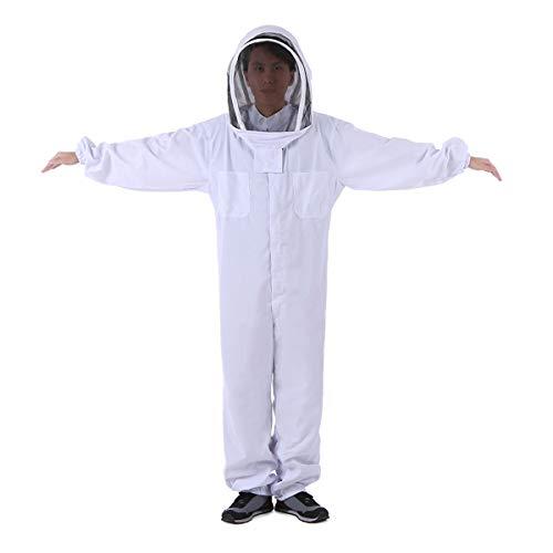 HBBDYZ Imker Bee Anzug Baumwolle in voller Körper mit Schleier Hood Bienenzucht Folding-Hut und den Reißverschluss Schutz Bienenzucht Anzug,Weiß,XXL