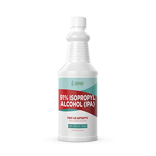 Jermee Isopropyl Alcohol (IPA) 91% Purity - USP/Medical Grade - First Aid Antiseptic, Topical Rubbing Alcohol, Made in The USA, 32 Ounce