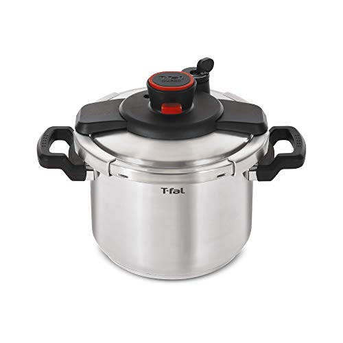 T-fal P45009 Clipso Stainless Steel Dishwasher Safe PTFE PFOA and Cadmium Free 12-PSI Pressure Cooker Cookware, 8-Quart, Silver - 7114000494