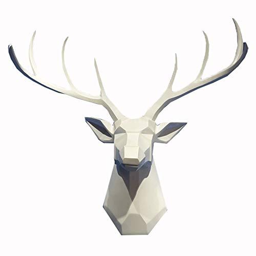 Topniu Decoración de la pared Cabeza cabeza de la pared Escultura tridimensional animal cabeza tv fondo pared colgante sala de estar decoración colgante resina duradera (59 * 54 * 29 centímetros) (Col