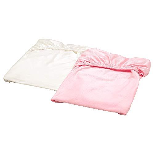 Sábana bajera ajustable para cuna blanca/rosa en paquete de 2, tamaño montado: 140 cm de largo, 70 cm de ancho, cantidad del paquete: 2 unidades