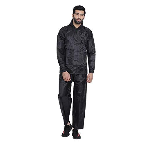 The Dry Cape rain Coats for Plain / Solid Men Waterproof Raincoats (Black, XL)